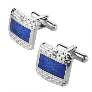 Blue Enamel Cubic Zirconia Curved Square Cufflinks