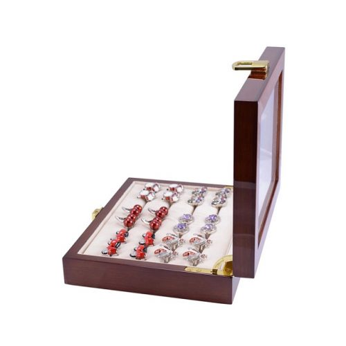 12 Pair Capacity Polished Wooden Cufflink Glass Box - Side