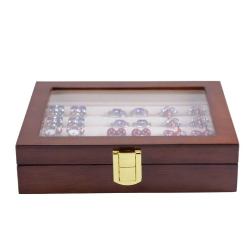 12 Pairs Capacity Mahogany Wooden Cufflink Glass Box Front