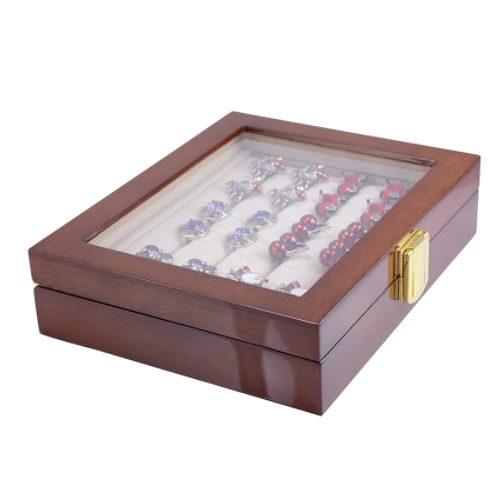 12 Pairs Capacity Mahogany Wooden Cufflink Glass Box for Men