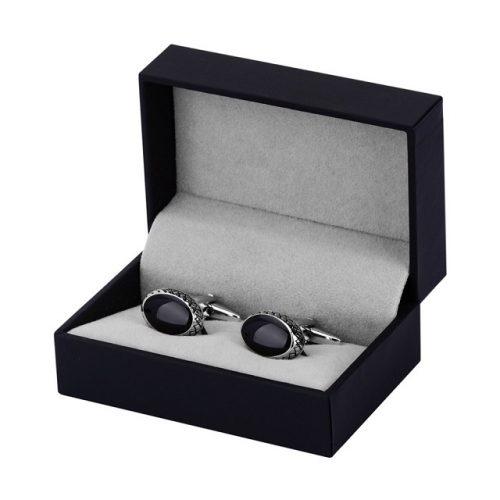 Black Enamel Curved Oval Cufflinks - Cufflink Box