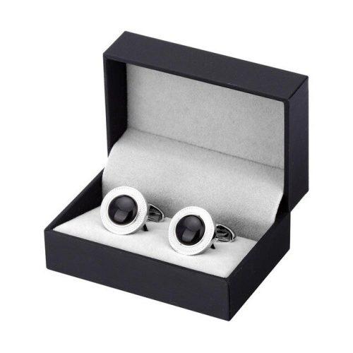 Black Stone Round Cufflinks - Box View