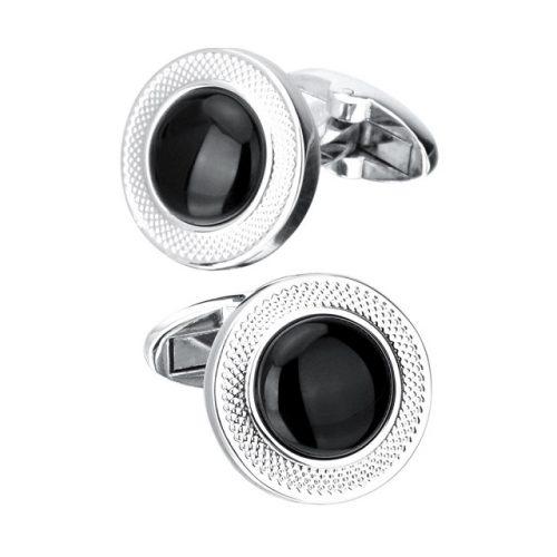Black Stone Round Cufflinks - Front View