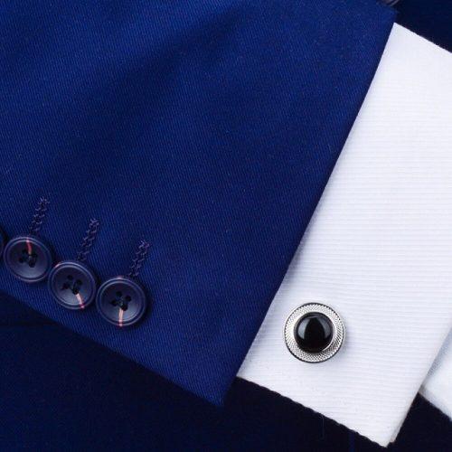 Black Stone Round Cufflinks - Shirt View