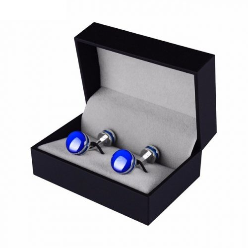 Blue Enamel Round Cufflinks - Box View