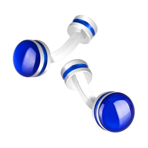 Blue Enamel Round Cufflinks - Front View