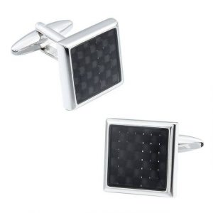 Carbon Fiber Square Cufflinks - Side Front View