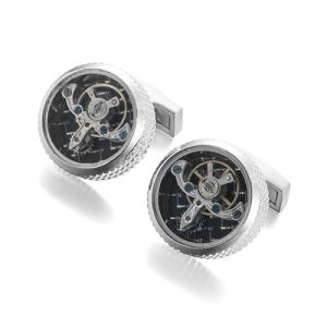 Carbon Fiber Tourbillon Studded Round Cufflinks
