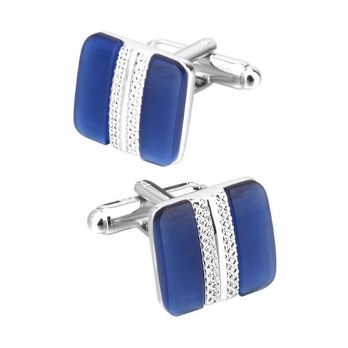 Cats Eye Stone Square Cufflinks - Front Side View