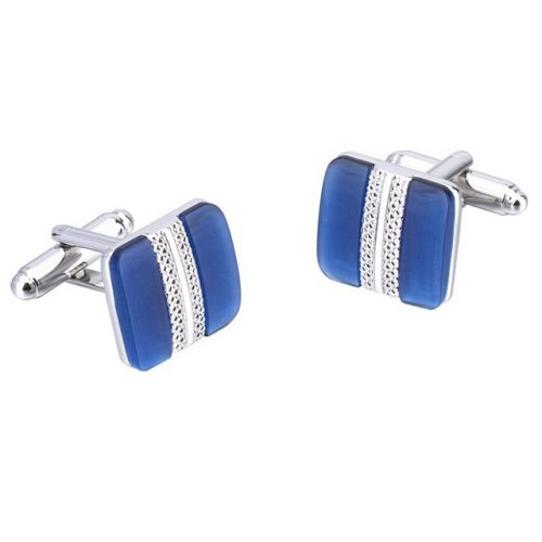 Cats Eye Stone Square Cufflinks - Side By Side View