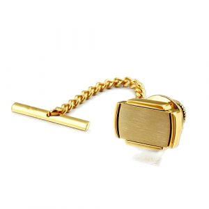 Classic Gold Rectangular Tie Tack with Chain