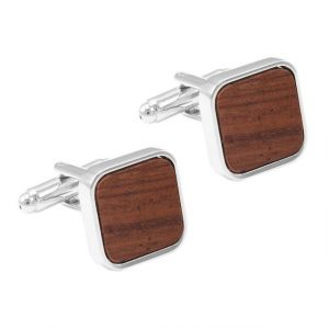 Classic Wood Rounded Square Cufflinks - RHS Front View
