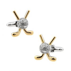 Crossed Golf Clubs and Ball Cufflinks