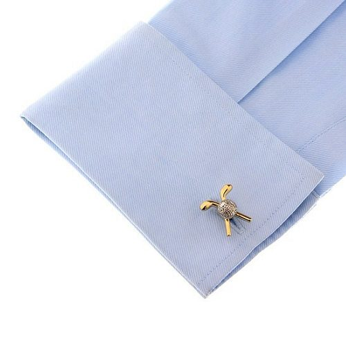 Crossed Golf Clubs and Ball Cufflinks with Cuff Shirt