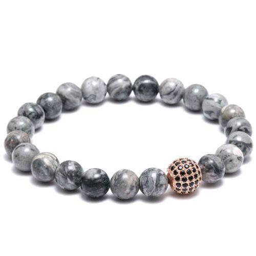 Grey Natural Stone Beaded Bracelet