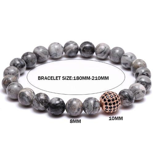 Grey Natural Stone Beaded Bracelet Dimension