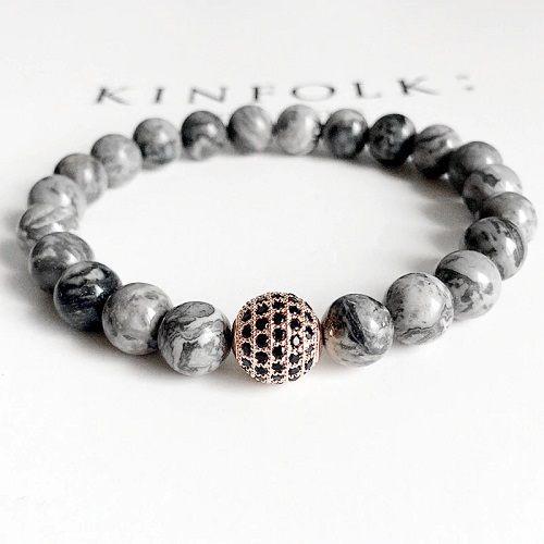 Grey Natural Stone Beaded Bracelet - Display 2