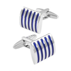 Grooved Curved Rectangular Cufflinks - Front Side Angle View