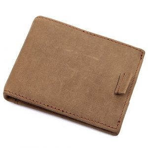 Khaki Vintage Genuine Leather Money Clip Wallet