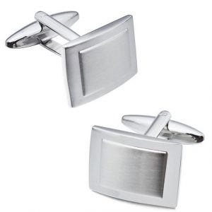 Silver Tone Stainless Steel Cufflinks - Front Side View