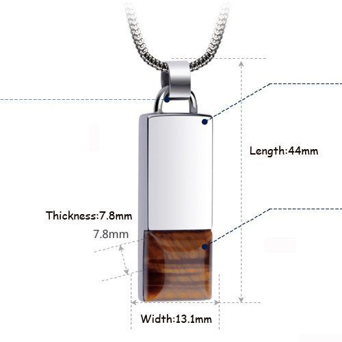 Tiger Eye Stone Tungsten Pendant Dimension
