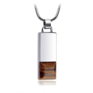 Tiger Eye Stone Tungsten Pendant Stainless Steel Necklace