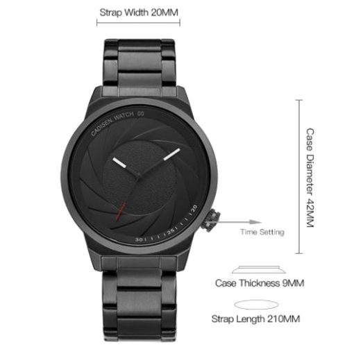Camera Shutter Design Round Dial Stainless Steel Watch Dimension