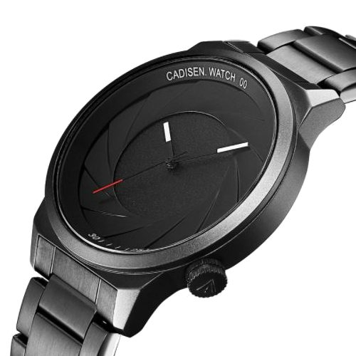 Camera Shutter Design Round Dial Stainless Steel Watch for Men