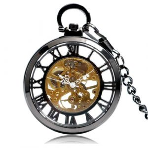Classic Transparent Open Face Mechanical Pocket Watch