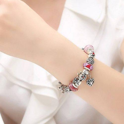 Crystal Royal Crown Charm Bracelet - Model Display