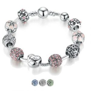 Flower and Love Charm Bracelet