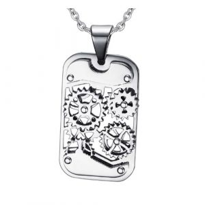 Gear Pendant Stainless Steel Necklace