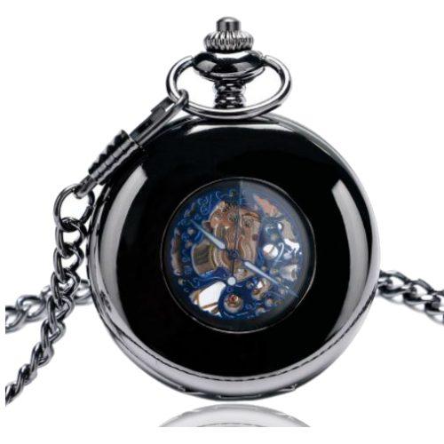Hand Wind Retro Black Half Hunter Mechanical Pocket Watch