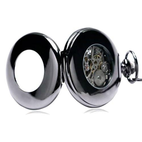 Hand Wind Retro Black Half Hunter Mechanical Pocket Watch Back View