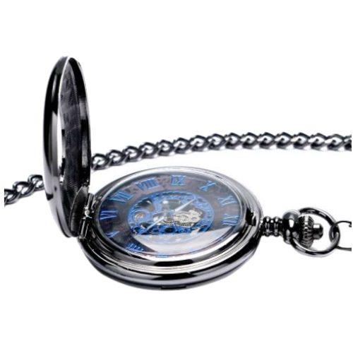 Hand Wind Retro Black Half Hunter Mechanical Pocket Watch Opened Cover