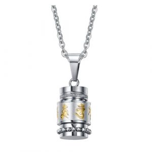 Mantra Pendant Stainless Steel Necklace