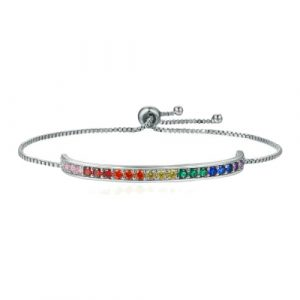 Rainbow Cubic Zirconia Platinum Plated Bracelet