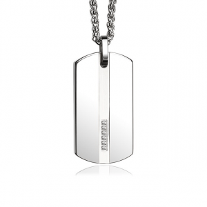 Tungsten Dog Tag Pendant Necklace