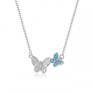 Crystal Butterfly Pendant Necklace