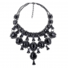 Crystal Water Drop Statement Necklace - Black