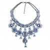 Crystal Water Drop Statement Necklace - Blue
