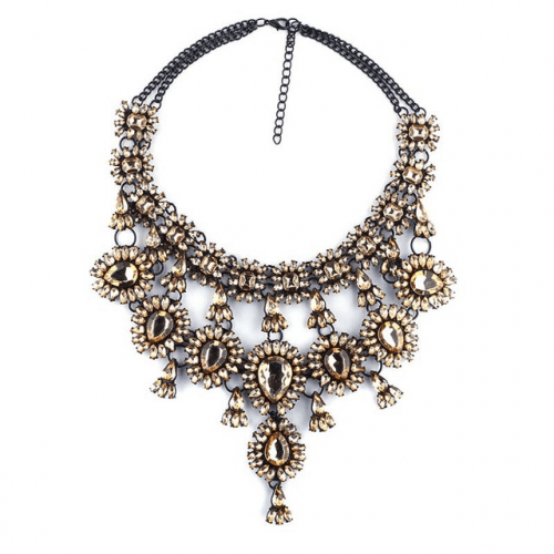 Crystal Water Drop Statement Necklace - Champagne