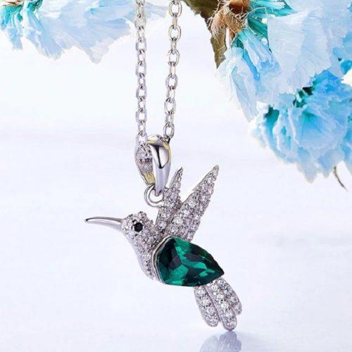 Cubic Zirconia Hummingbird Pendant Necklace
