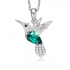 Cubic Zirconia Hummingbird Pendant Necklace - Green