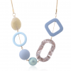 Geometric Shape Acrylic Statement Necklace - Purple