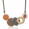 Geometric Shape Bamboo Statement Necklace - Orange