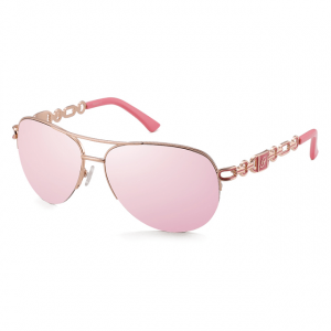 Polycarbonate Chain Link Temple Aviator Sunglasses