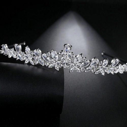 Princess Cubic Zirconia Bridal Headpieces - Display 1