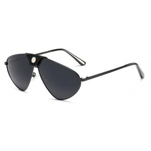 Black Polarized Oversized Aviator Sunglasses - Side View