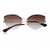 Brown Polycarbonate Funky Rimless Cat Eye Sunglasses - Back View
